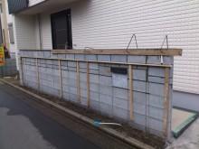 平塚市 門まわり アプローチ 門袖下地 千陶彩を貼っていきます。
