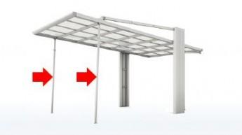 着脱式サポート柱で強風時のばたつきを防ぎます