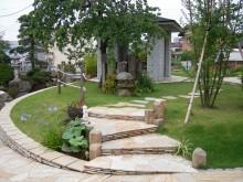 神奈川県を中心としたアプローチ 門まわり 芝 枕木 植栽 階段