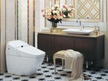 シャワートイレ一体型便器 静かな洗浄音で風格あるフォルムが特徴です。