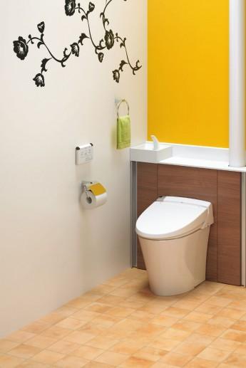 タンクレストイレのようなすっきりデザインのキャビネット付きトイレ