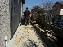 外構施工例 平塚市 自然石乱貼り