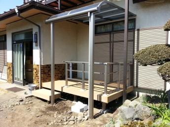 樹脂デッキとテラス屋根を設置して物干し場に