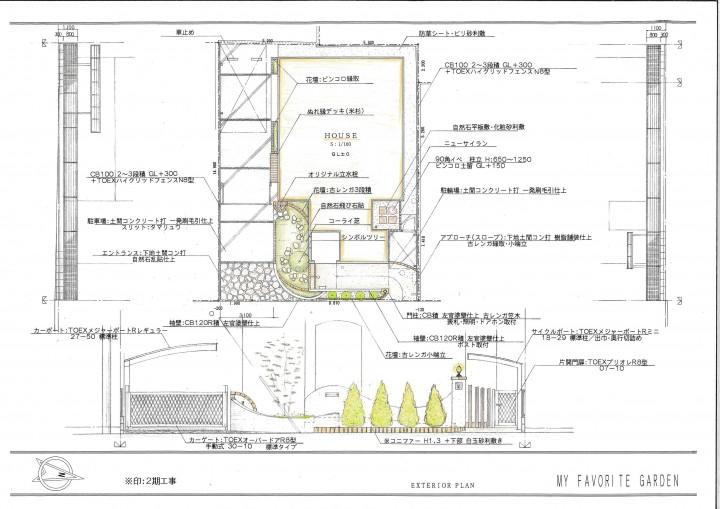 平面図面 コニファーが出迎える門まわり 樹脂舗装のアプローチ