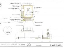 平面図 タイルテラスのアプローチ。樹脂舗装で空間に変化をつけています・