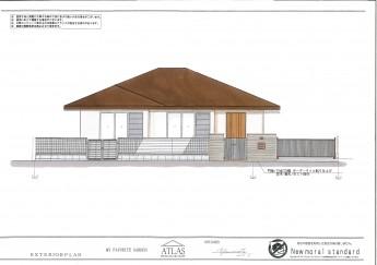 平屋 一階建ての外構施工例 グレーチング 陶笠木 ボーダータイル使用
