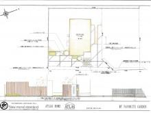 平面図面 平板敷きのアプローチに角柱立ての門袖