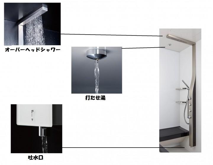 全身を包み込むシャワーや打たせ湯