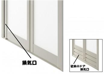 換気口が縦にあるのでドアのお掃除がしやすい