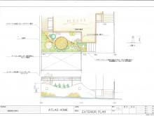 平面図 立面図 自然石とレンガをデザイン敷きして、緑に囲まれた庭