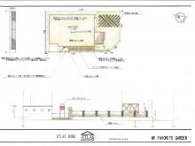 踏面を樹脂舗装、蹴上をレンガで縁取ったアプローチ 道路と玄関の距離が狭いパターン