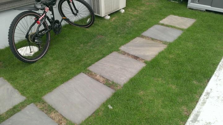 砂岩平板との間の目地…スリット部分の芝が枯れてしまっています。