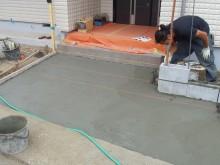 アプローチ部分の施工 門袖ブロック積み工事