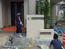 門袖塗り壁作業