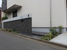平塚市 セミオープンな外構 門まわりの施工 千陶彩使用