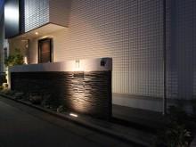 平塚市 門まわり 門袖 外構施工例 千陶彩 ライトアップ