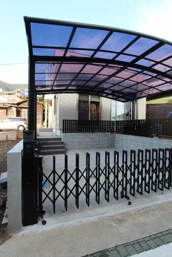 松田町 外構施工例 伸縮門扉 機能門柱 ウィルモダンスリム