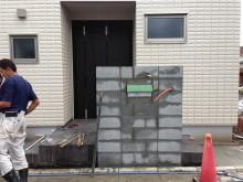 神奈川県秦野市 門袖のブロック積み完了