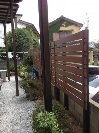 大磯町 庭のリフォーム ウッドフェンスで目隠し アプローチ 駐車場
