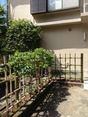 お庭のリフォーム 四つ目垣 植物をつたわせても