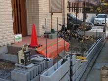 小田原市 外構施工例 門まわり 下地ブロック積み工事