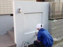 外構施工例 小田原市 門袖 塗り壁作業
