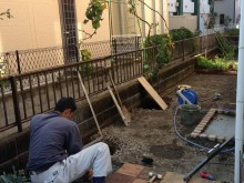 外構施工例 平塚市 既存平板移設