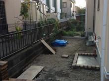 外構施工例 平塚市 おしゃれなデザイン水栓 ジラーレ 赤