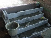 アプローチ階段作製 コンクリートブロックで下地作り