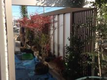 外構施工例 平塚市 Gフレーム設置後の植栽