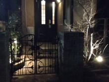 アイアン門扉の形が照明の効果で浮かび上がるかのようなアプローチ