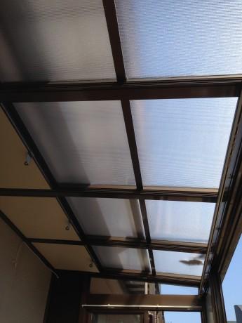 新しくなったサンルームの屋根。