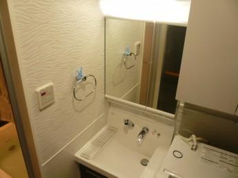 洗面台ピアラ。ミラーキャビネットには収納が出来るので限られたスペースでもすっきり