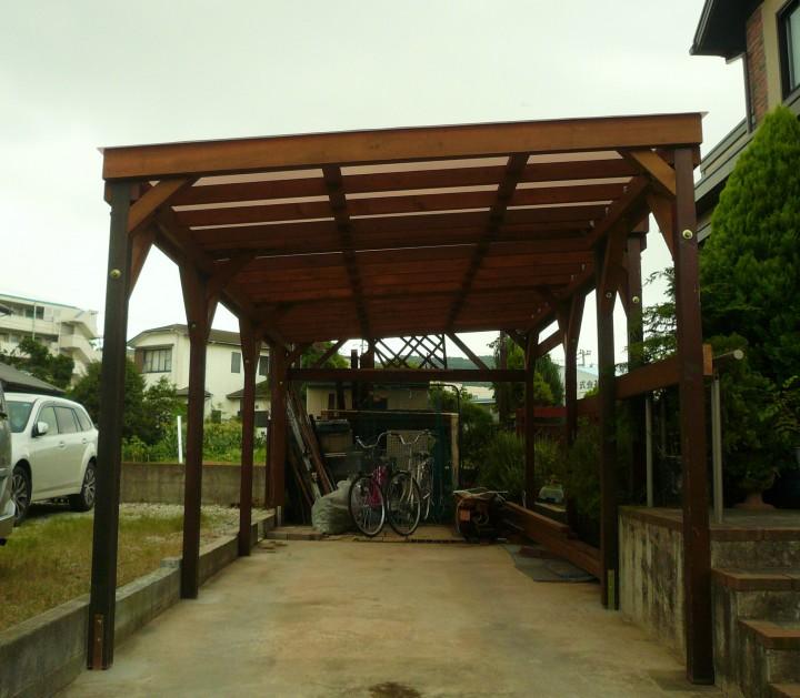オリジナルの木製カーポート改修工事