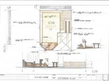 塗り壁にレンガの笠木の門柱が出迎える外構プラン ローメンテナンス