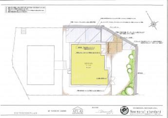 平屋 一階建ての外構施工例 平面図面
