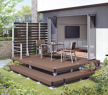 ウッドデッキ 樹脂デッキ お庭の延長 人工デッキ 木質感