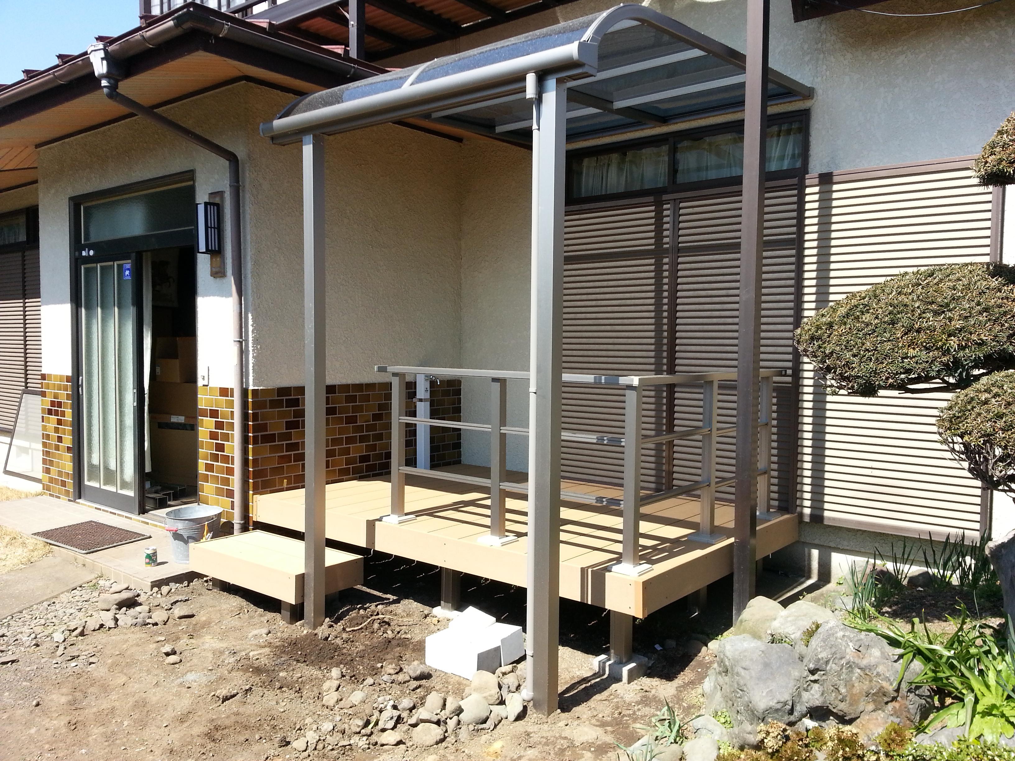 樹脂デッキとテラス屋根を設置して物干し場として活用 厚木市