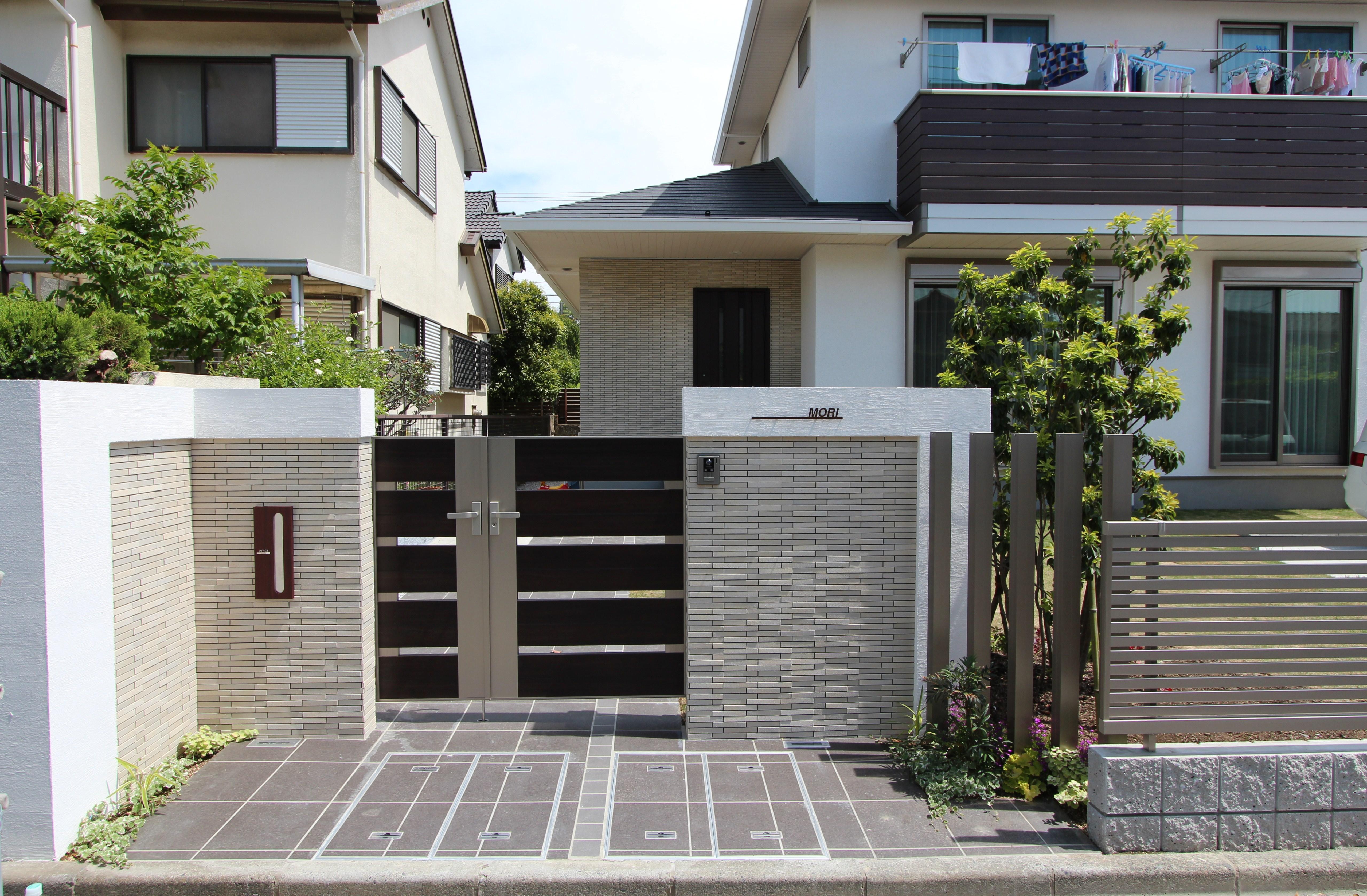 クローズ外構に植栽と角柱で抜け感をプラス 横浜市戸塚区